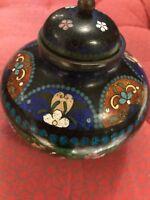 Antique cloisonne lidded pot / ginger jar