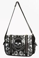 Black Skull Roses Gothic Punk Emo Rockabilly Unisex Messenger Bag Banned Apparel