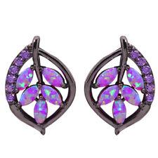 Purple Opal Amethyst Silver Black Gold Filled Women Jewelry Stud Earrings OH3911