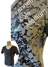 Kenneth Cole SNAKE v wide neck muscle tee crocodile shiny python gun metal grey