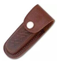 """Folding Pocket Knife Sheath 4"""" Textured Brown Genuine Leather Belt Case"""