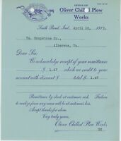 1913 Oliver Chilled Plow Works Payment Receipt South Bend Indiana Farm Farming