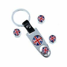 4pcs Car Wheel UK Tire Stem Valve Cap Britain Flag W/ Wrench Silver White