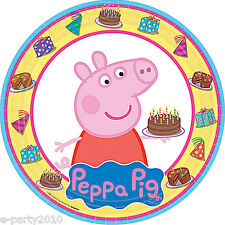 PEPPA PIG LARGE PAPER PLATES (8) ~ Birthday Party Supplies Cake Dinner Luncheon