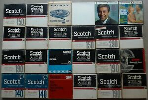 """Lot Of 24 Vintage 7"""" Reel To Reel Recording Tapes (20 Scotch)"""