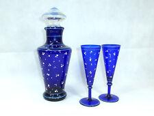 CARAFFA VETRO CARAFFA & due bicchieri di Francia del 1920