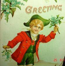 Old 1910 Blue-eyed Blonde German Boy RED COAT Greeting Postcard PC Germany Print