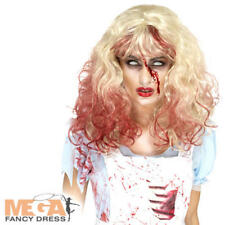 Zombie Bloody Alice Wig Ladies Fancy Dress Blonde Bloody Adult Costume Accessory