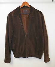 MEN'S COACH BROWN SUEDE ZIP FRONT JACKET SIZE SMALL GOOD USED