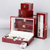 6 Sizes Grids Wood Watch Display Case Jewelry Collection Storage Holder Box Gift