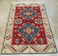3'X5' ANTIQUITY HAND-KNOTTED CAUCASIAN KAZAK TRIBAL VINTAGE WOOL ORIENTAL RUG