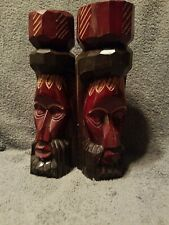 Vintage Solid Wood Hand Carved & Jamaica Man Head Statues set two