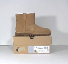 New UGG AUSTRALIA Womens Size 7 Classic Unlined Mini Perforated Boots Tan Brown