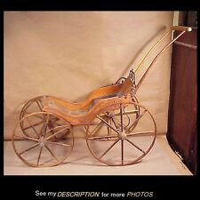 Antique 19th Century Victorian Doll Carriage Buggy Stenciled Wood Wheels
