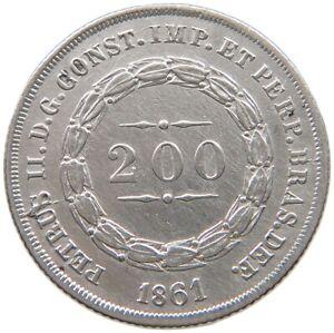 BRAZIL 200 REIS 1861 #t139 251