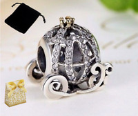 925 Silver Sterling Disney Princess Pumpkin cart Charm gold crown+ gold gift bag