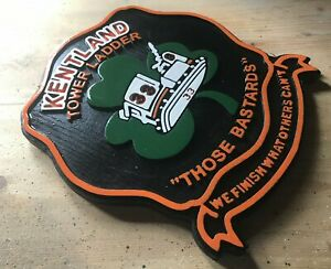 Fire Department Kentland Tower Ladder 3D routed wood patch plaque sign Custom