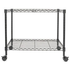"Single Tier Metal Rolling Mobile File Cart 23.6 x 12.6 x 18"" Black"
