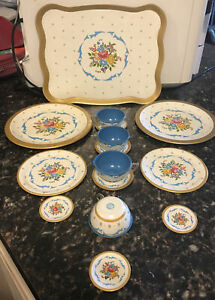 Vintage Toy Dishes Tin Flowers Blue with Gold Trim Ohio Art Co 15 Piece Set 1950