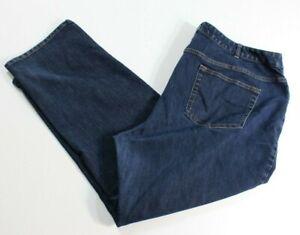 LANDS END Jeans Women Plus Size 22 W Dark Wash Blue Denim Fit 2 Measure 42 x 29