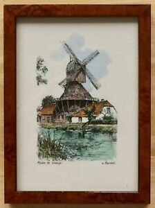 """Vintage Gerald van Berkel """"Molen te Weesp"""" Hand-Colored Engraving - Frame 5""""x6"""""""