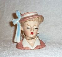 Vintage Napco Lady Headvase Head Vase Pink Hat Pearls 1950s Planter Lucy
