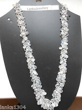 Hallmark Sterling Silver Sri Lankan Blue Moonstone Bunch Necklace (N20/7) (NEW)