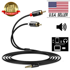 RCA Cable Gold-Plated 6FT 3.5mm to 2 RCA Audio Auxiliary Stereo Y Cable