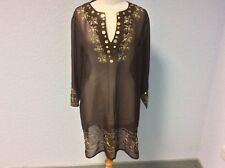 Chocolate Brown Beach Cover-Up - Tunic - 3/4 Sleeves - Size up to 18