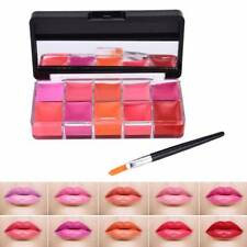 10 Colors Makeup Lip Gloss Palette Moisturizer Lipstick Shimmer Kit with Mirror
