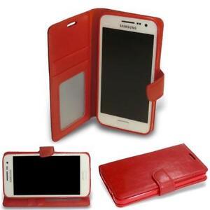 HPO Buch Handy Tasche f Samsung Galaxy Xcover 3 G388F Wallet Klapp Hülle TPU ROT