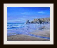 Porthcothan Cornwall: pintura al óleo originales por Robin Beckett Grande 50cm X 40cm