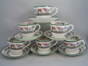 SET OF SIX COPELAND SPODE CHINESE ROSE TEA CUPS AND SAUCERS, BROWN BACKSTAMP.
