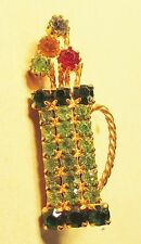 Vintage 50's Golf Club Bag Prong Set Glass Crystal Rhinestone Pin Brooch