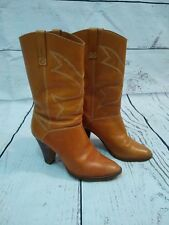 Vintage 70s stack heel tan womens boots size 7.5 B made in Brazil