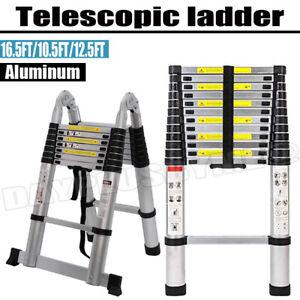 10.5FT-16.5FT Folding Aluminum Telescoping Collapsible Roof Climb Ladder