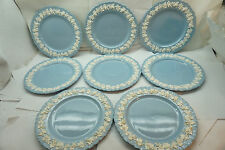 WEDGWOOD QUEENSWARE DINNER PLATES CREAM ON LAVENDER BLUE 10.25 SET OF 8 SHELL