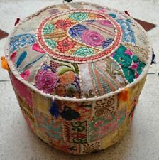 """18X18X14"""" Indian Bohemian Pouf Cover Patchwork Ottoman Round Pouffe Footstool"""