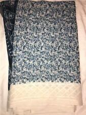 Blue White Sari Indian Saree Bollywood Fabric Panel Drape