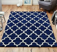 Moroccan Tile Rugs In Blue & Cream Modern Handmade Wool Rugs 160X230CM Large