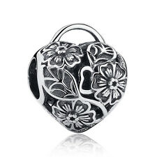 Valentines Flora Heart Padlock Solid Sterling Silver S925 Charm Free Gift Pouch