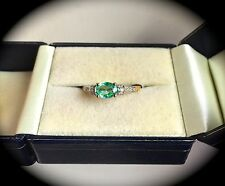 EMERALD & DIAMOND RING 9CT Y GOLD SIZE Q 'CERTIFIED' BEAUTIFUL EMERALD!
