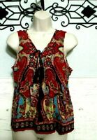 Patrons Of Peace Hippie Top Women's Size M  Sleeveless Multi Colored Boho