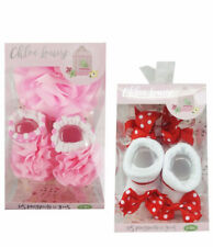 New Baby Girl Beautiful Socks And Headbands Red Pink Set In Gift Box 0-12 Months