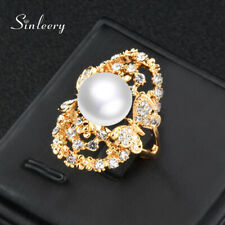 Gold Rings Wedding Fashion Jewelry Big Hollow Butterfly Pearl Cubic Zirconia