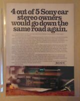 1980's SONY CAR STEREO AUDIO Automobile Original 1984 Print Ad Advertising