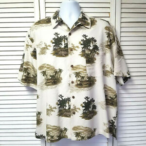 Joe Marlin Tiki Hut Tropical Camp Shirt Beige XL Hawaiian Shirt Palm Trees