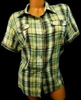 Basic editions beige multi color plaid button down women's plus top Extra Large
