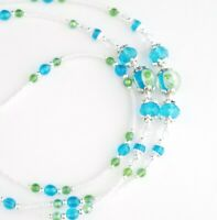 Handmade Beaded Lanyard~Turquoise Blue & Green Flowers~Crystal~Badge ID Holder