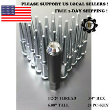24PC+KEY FOR FORD CHROME 6'' TALL CONICAL SEAT 1/2-20 SPIKE WHEEL LUG NUTS